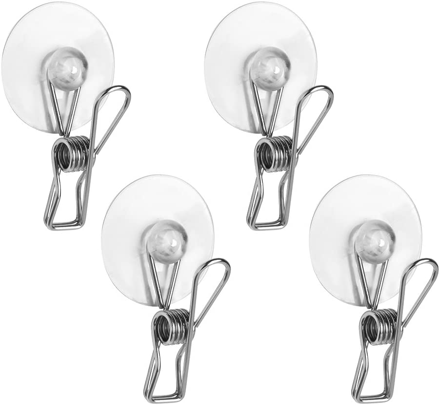 iDesign Forma Suction Shower Clips for Bathroom - Set of 4, Polished Stainless Steel