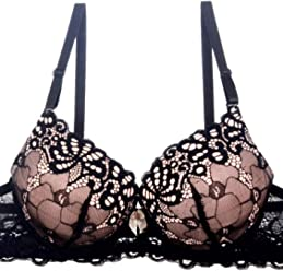 ac1b6a9c18e Youmita Extreme Push Up Bra Adds 2 Cup Sizes Overlay Lace Black