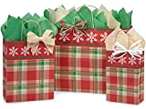 Pack Of 125, Assortment Christmas Plaid Snowflake Bags W/Kraft Paper Twist Handles 50 Rose, 50 Cub & 25 Vogue Made In USA
