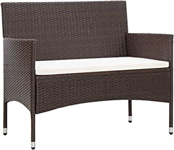 Canditree Outdoor Poly Rattan Loveseat with Cushion, Garden Sofa Bench All Weather for Patio Poolside (Brown)