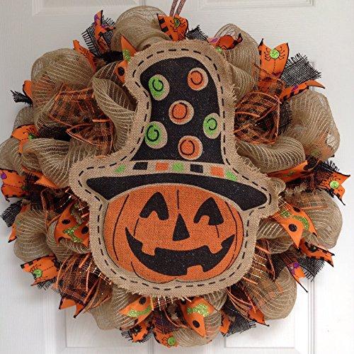 Painted Burlap Jack O'lantern Wreath Handmade Deco Mesh - Jack O-lantern Wreath