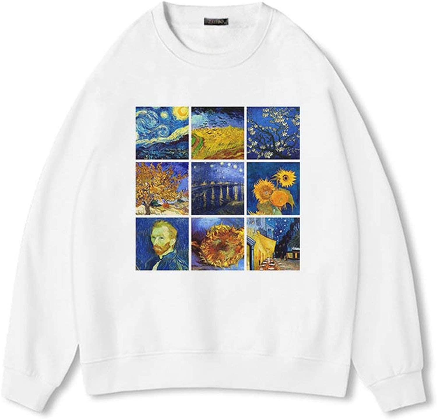 xiao S Art Oil Painting Women Weatershirt Winter Warm Soft Grunge Aesthetic Printed O Neck Harajuku Casual Tops