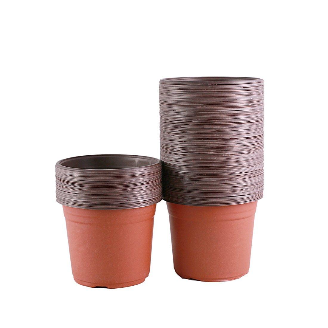 YIKUSH 6 Inch 100 Pack Plastic Nursery Pots for Seeding Flower Planter by YIKUSH