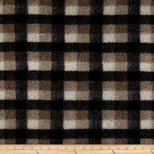 Shannon Fabrics Shannon Berber Check Fleece Taupe Fabric by The Yard,
