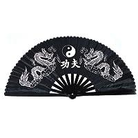 Abanico plegable de bambú, para la práctica de Kung Fu, Tai Chi, artes y bailes, estilo chino, diseño de dragón doble