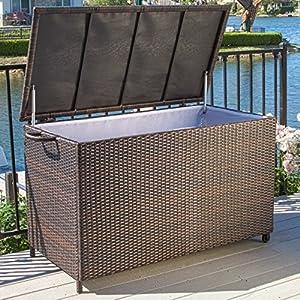 Freeport Brown Wicker Outdoor Storage Deck Box