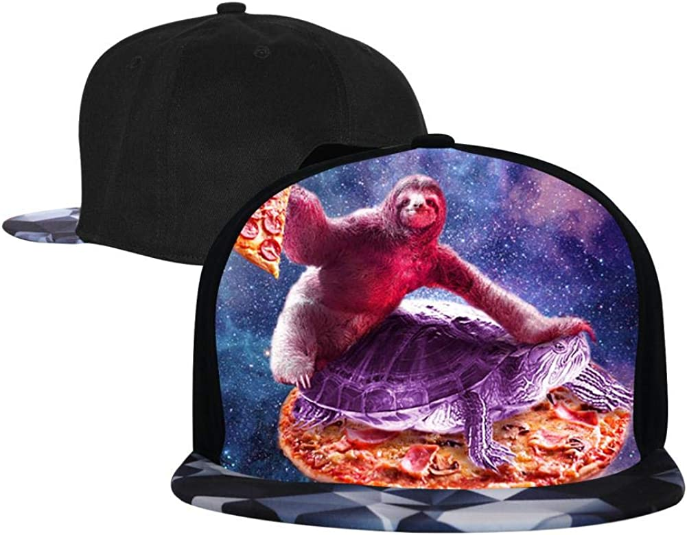 Adjustable Hip Hop Flat-Mouthed Baseball Caps Trippy Space Sloth Turtle Mens and Womens Trucker Hats