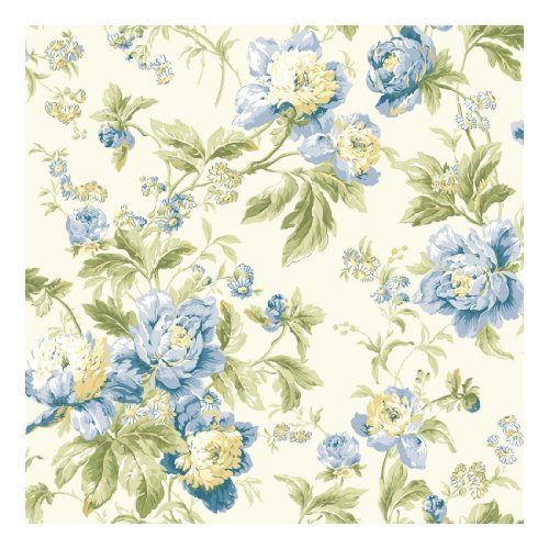 York Wallcoverings WA7803 Waverly Classics Forever Yours Wallpaper, Eggshell/Gray Blue/Cobalt Blue/Sage/Amber/Butter/Willow Green/Grass Green