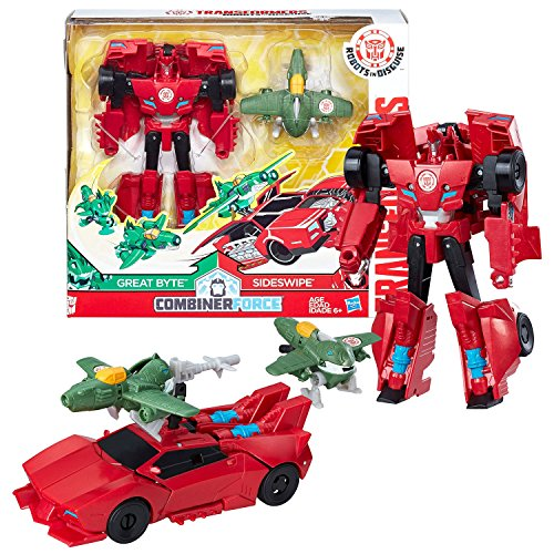 Year 2016 Transformer Robots in Disguise Combiner Force Activator Series 5-1/2 Inch Tall Figure Set - SIDESWIPE (6 Step Changer) with Great Byte (1 Step Changer)