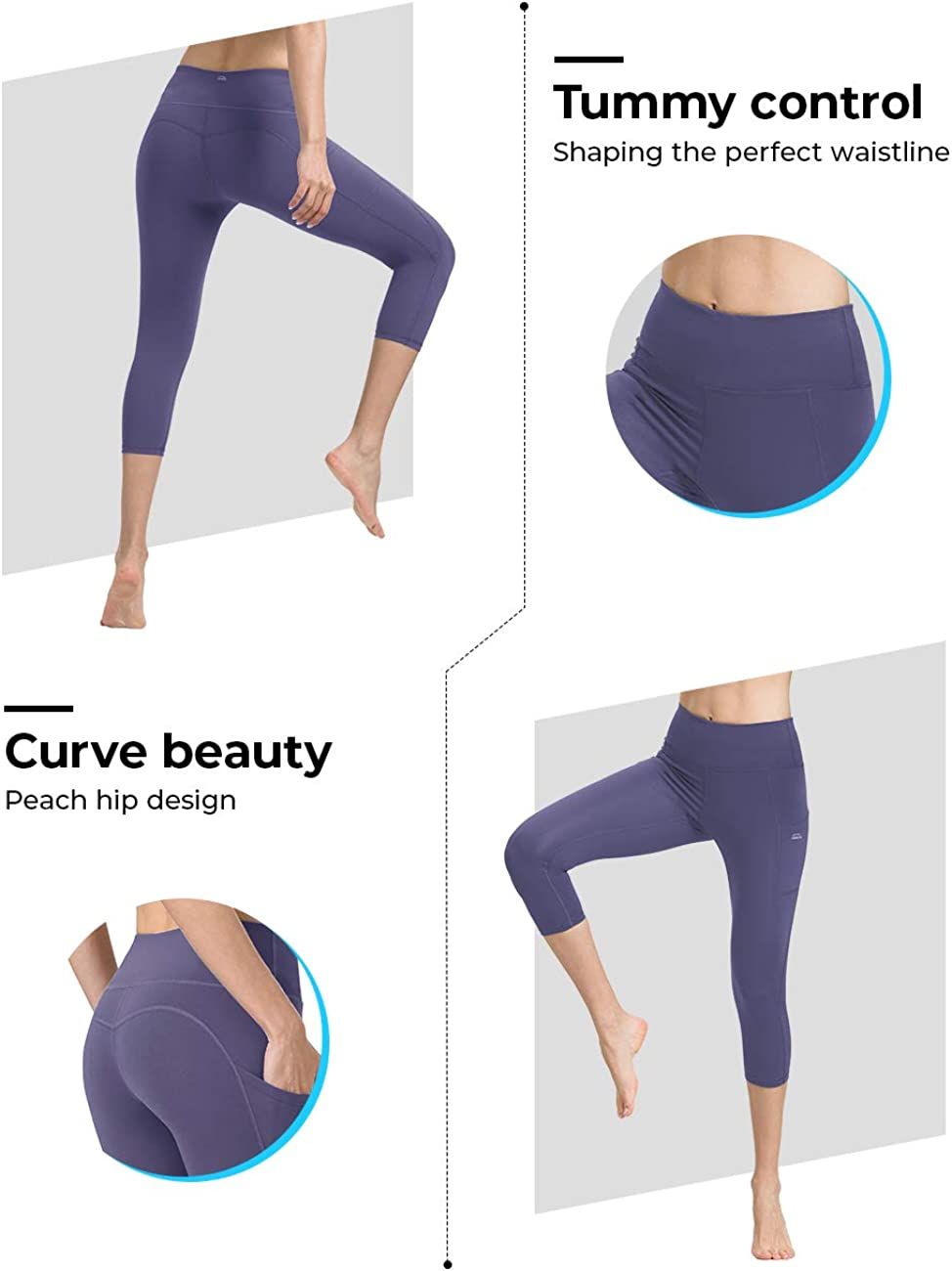 ALONG FIT Yoga Pants for Women mesh Leggings with Side Pockets Mid Waisted Leggings