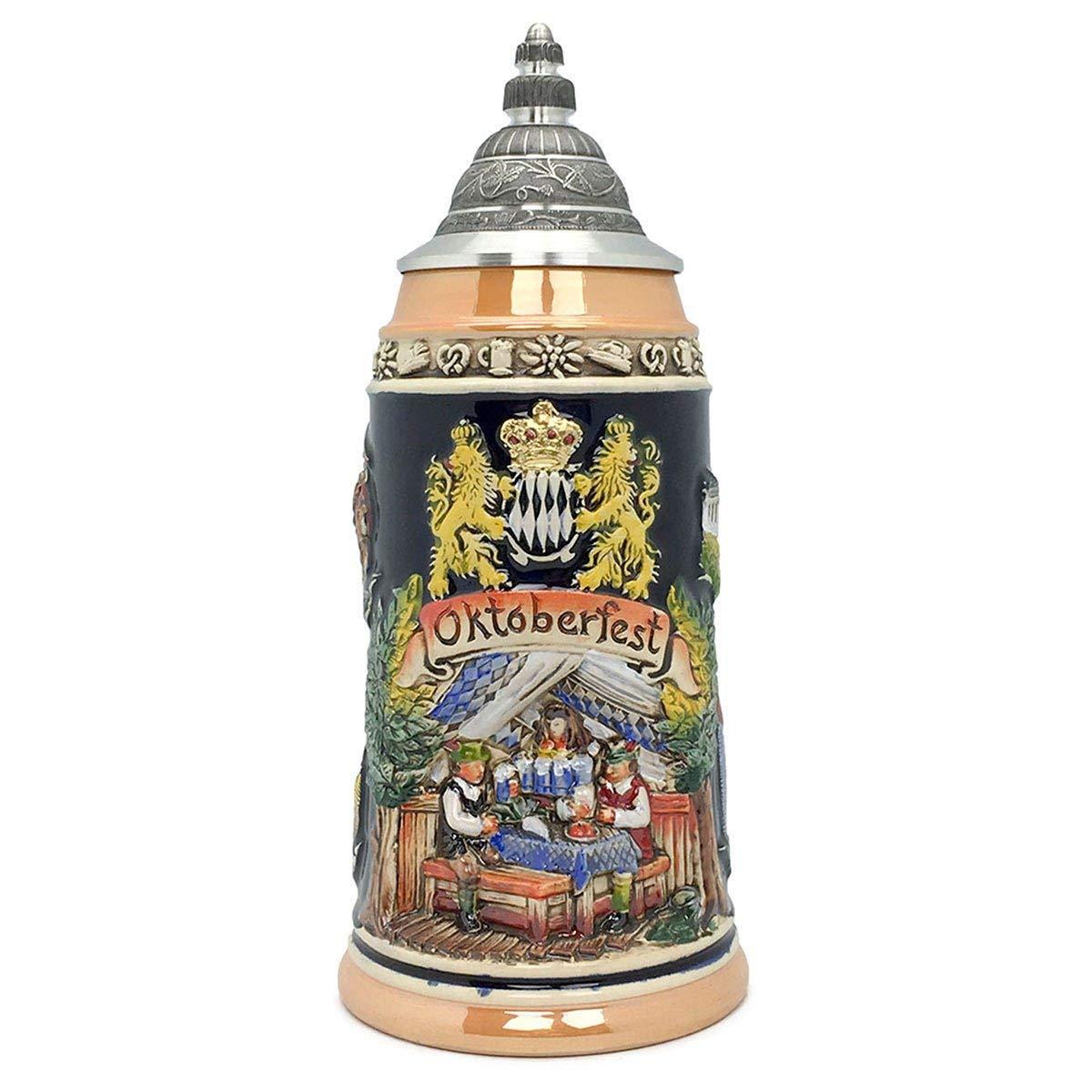 Oktoberfest Mug Bavarian Lions 1 Liter Tankard Zoller & Born Mug Made in Germany German Collectible Ceramic Beer Stein with Lid