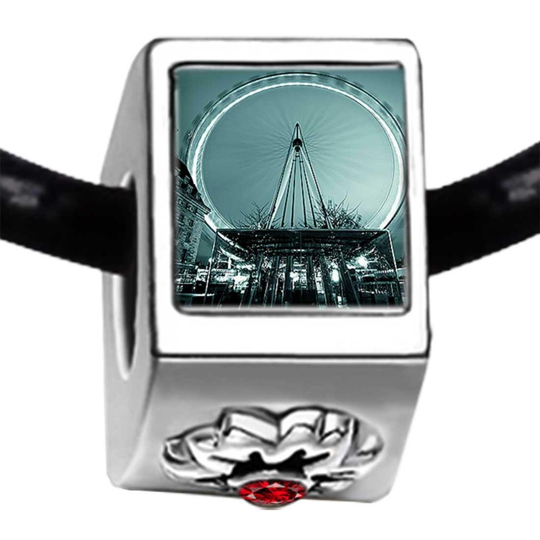 GiftJewelryShop London Eye a Giant Ferris Wheel Red Siam Crystal January Birthstone Flower Bead Charm Bracelets