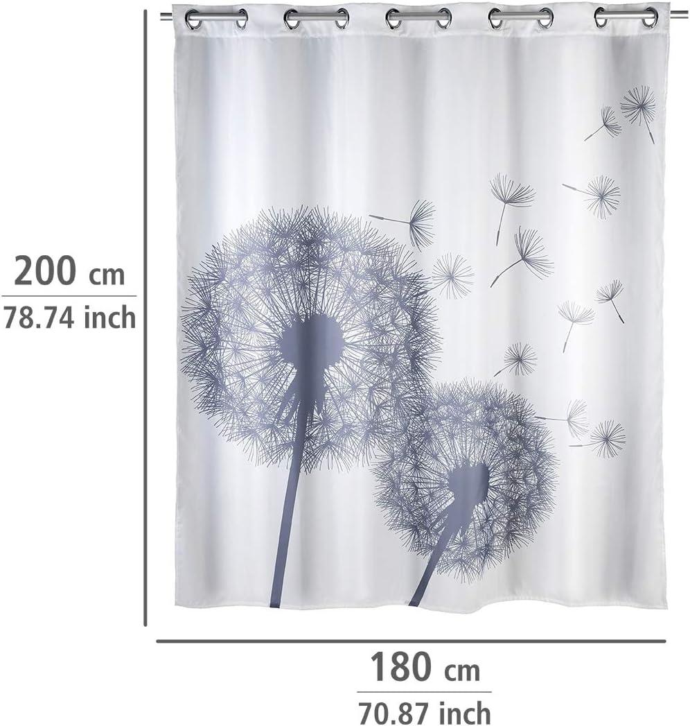 Bianco Antimuffa 180/x 200/cm Wenko 22493100/Tenda da doccia in poliestere Astera Flex