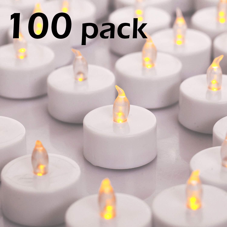YIWER Velas de t/é Polipropileno Velas Artificiales realistas a Pilas con luz Amarilla c/álida Velas LED 50pcs Velas parpadeantes sin Llama