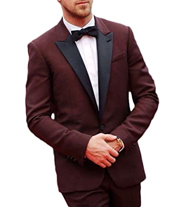 f2c2d3b238 Botong Burgundy Black Lapel Men Suits Groomsmen Tuxedos 2 Pieces Formal Suit  at Amazon Men's Clothing store:
