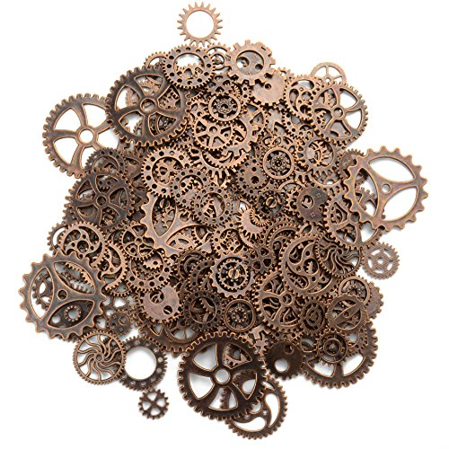 Aokbean 150 Gram Assorted Vintage Copper Metal Steampunk Jewelry Making Charms Cog Watch Wheel (Copper)