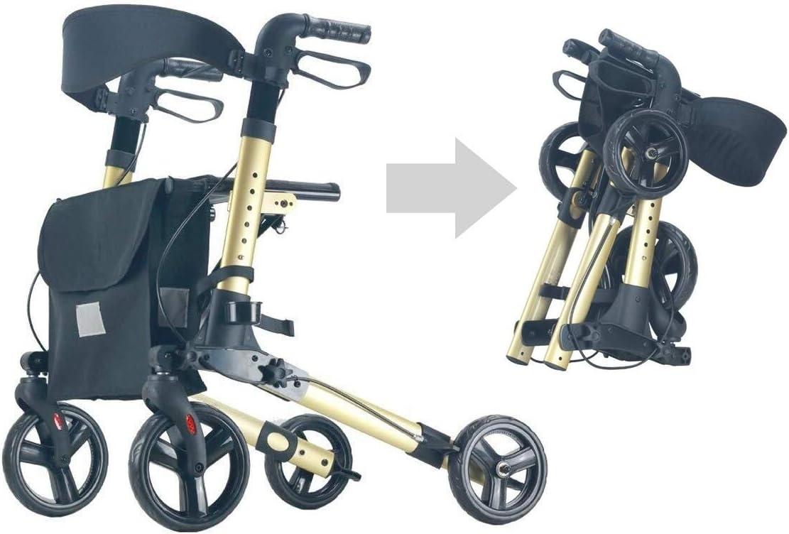 高齢者/障害者のために、モビリティ援助を歩くウォーキングフレーム4つの車輪を立ち、高さ調節下肢トレーナー (Color : Gold)