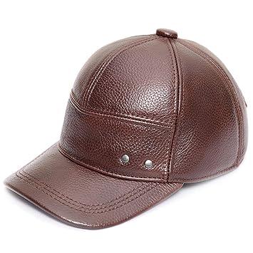 Gorra de béisbol Gorro de Cuero para Hombre Adulto Otoño e Invierno Gorra de Cuero para ...