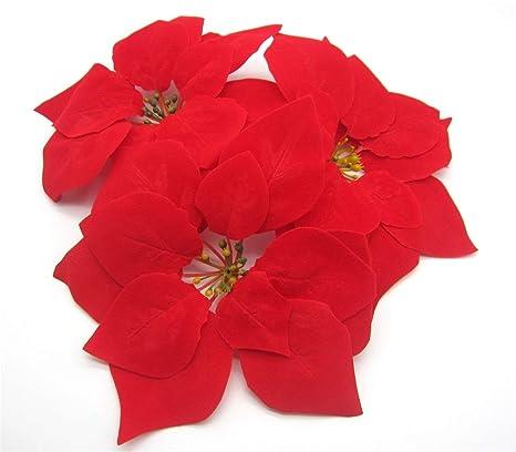 Pointsetta Christmas Tree.Vpt 24pcs Artificial Christmas Flowers Red Poinsettia Christmas Tree Ornaments Dia 8 Inch