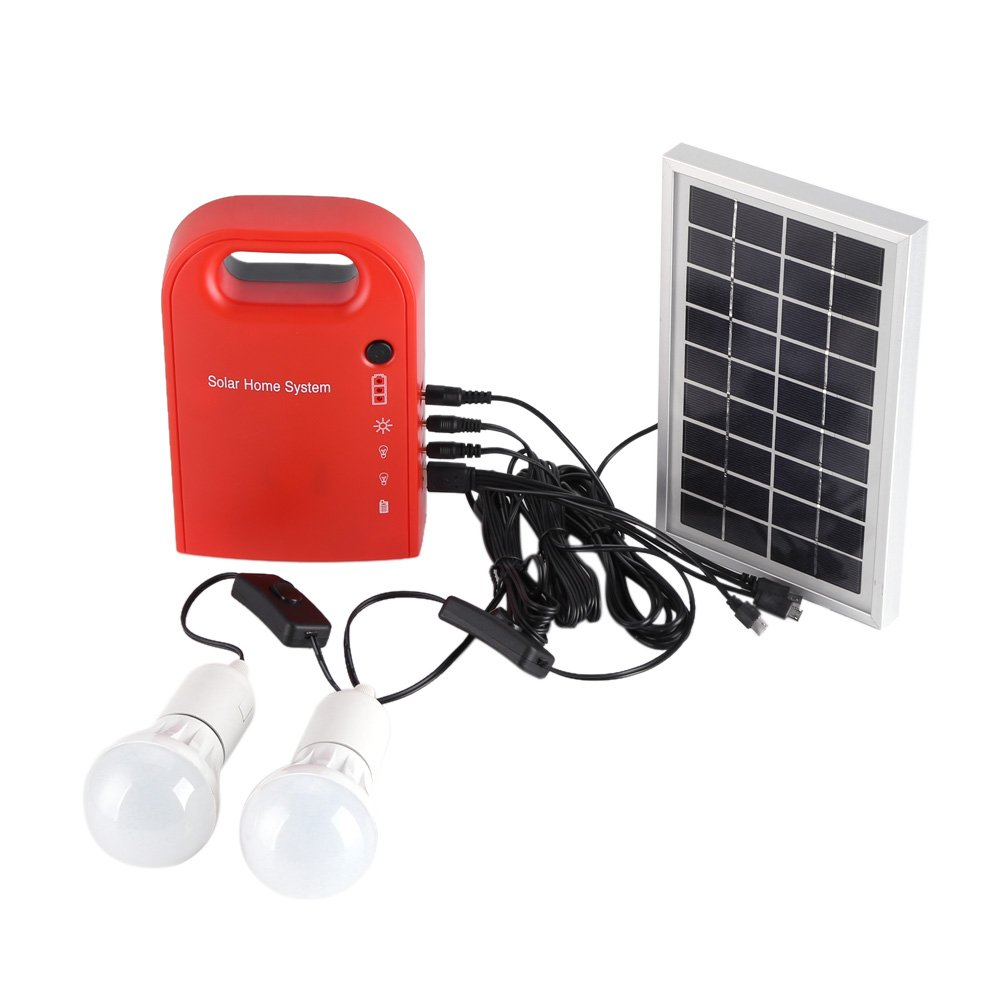 Solar Home System, Portable Home Outdoor Solar Energy USB Charging 2 LED Bulbs Power Generation Lighting System - Solar System with Bright LED Lights and a USB Port for Mobile Charging