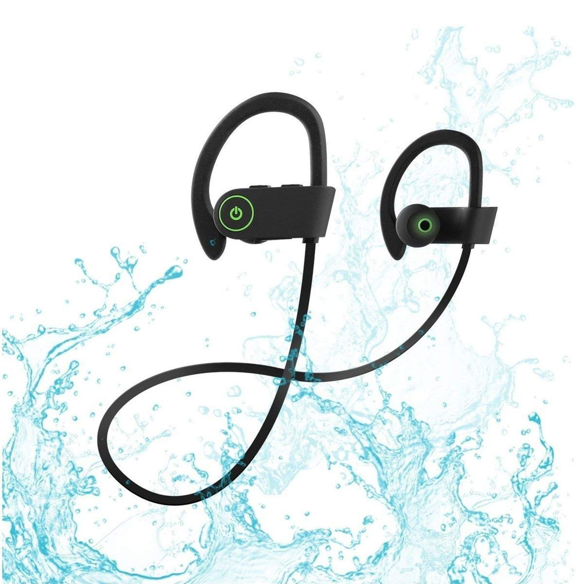 U8 ,black Bluetooth Headset, Sweatproof Wireless, Earbuds Stereo, Wireless Earbuds Compatible with iPhone XS X 8 Plus 8 Plus 7 and Samsung Bluetooth Headphones