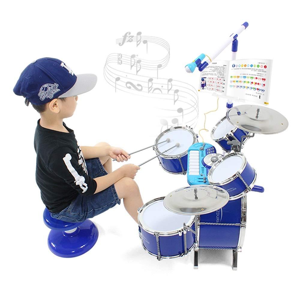 Blau Kinderspielzeug Große Jazz-Trommel Anfänger-Trommel-Tamburin-Kombination 3-6 Geburtstagsgeschenk (Farbe   Blau)