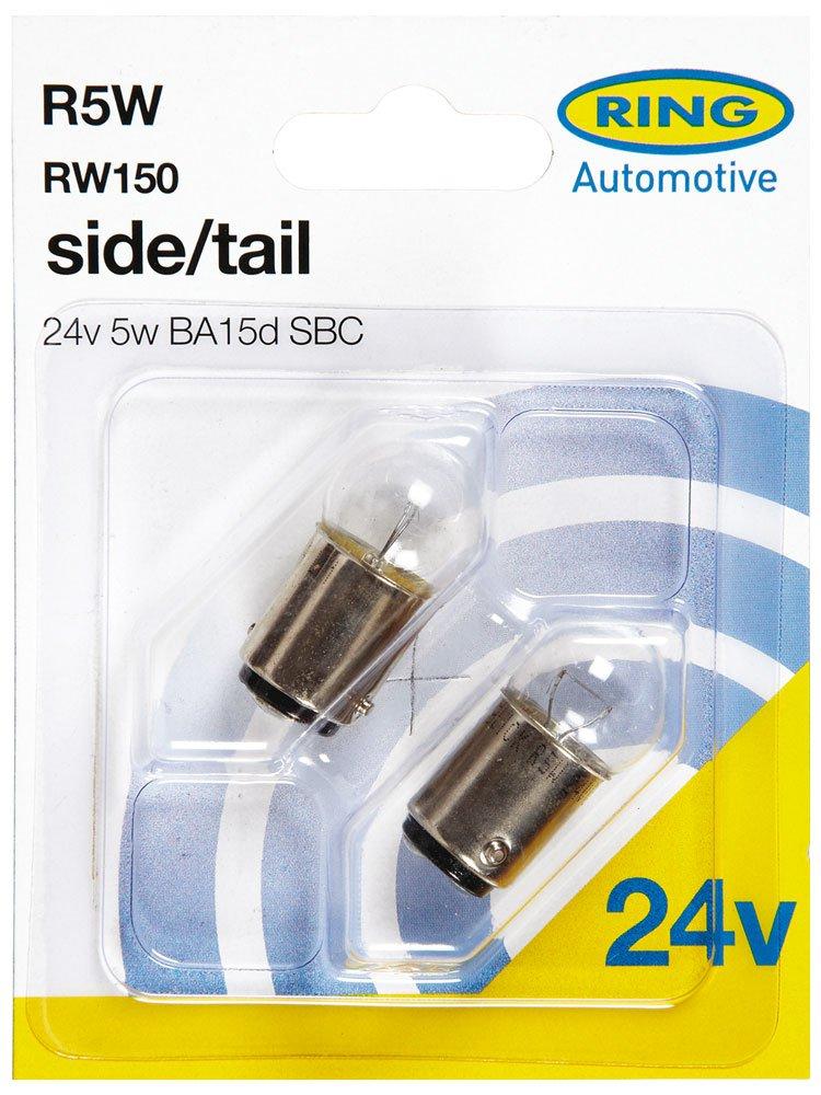Side // Tail 24V 5W SBC BA15d RW150 - Pack of 2 Ring Standard Bulbs