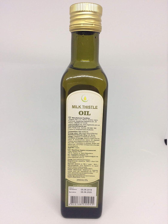 Organic Milk Thistle Oil Cold Pressed Unrefined Extra Virgin Raw Non GMO  250ml ( 9 oz ) Glass Bottle