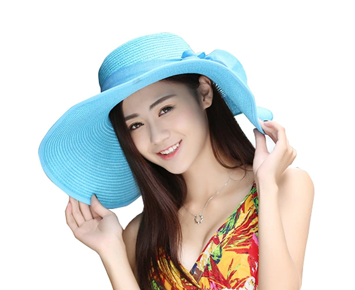 536ba267 Kaisifei Bowknot Casual Straw Women Summer Hats Big Wide Brim Beach Hat  (Azure) at Amazon Women's Clothing store: