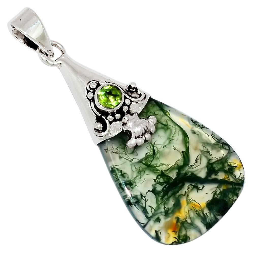Xtremegems Moss Agate /& Peridot 925 Sterling Silver Pendant Jewelry 1 3//4 28700P