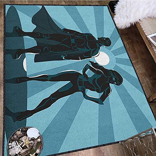 Superhero Non Slip Absorbent Carpet,Man and Woman Superheroes Costume with Masks Capes Night Protector in Moonlight Decor Carpet Popular Colors Blue Teal 63