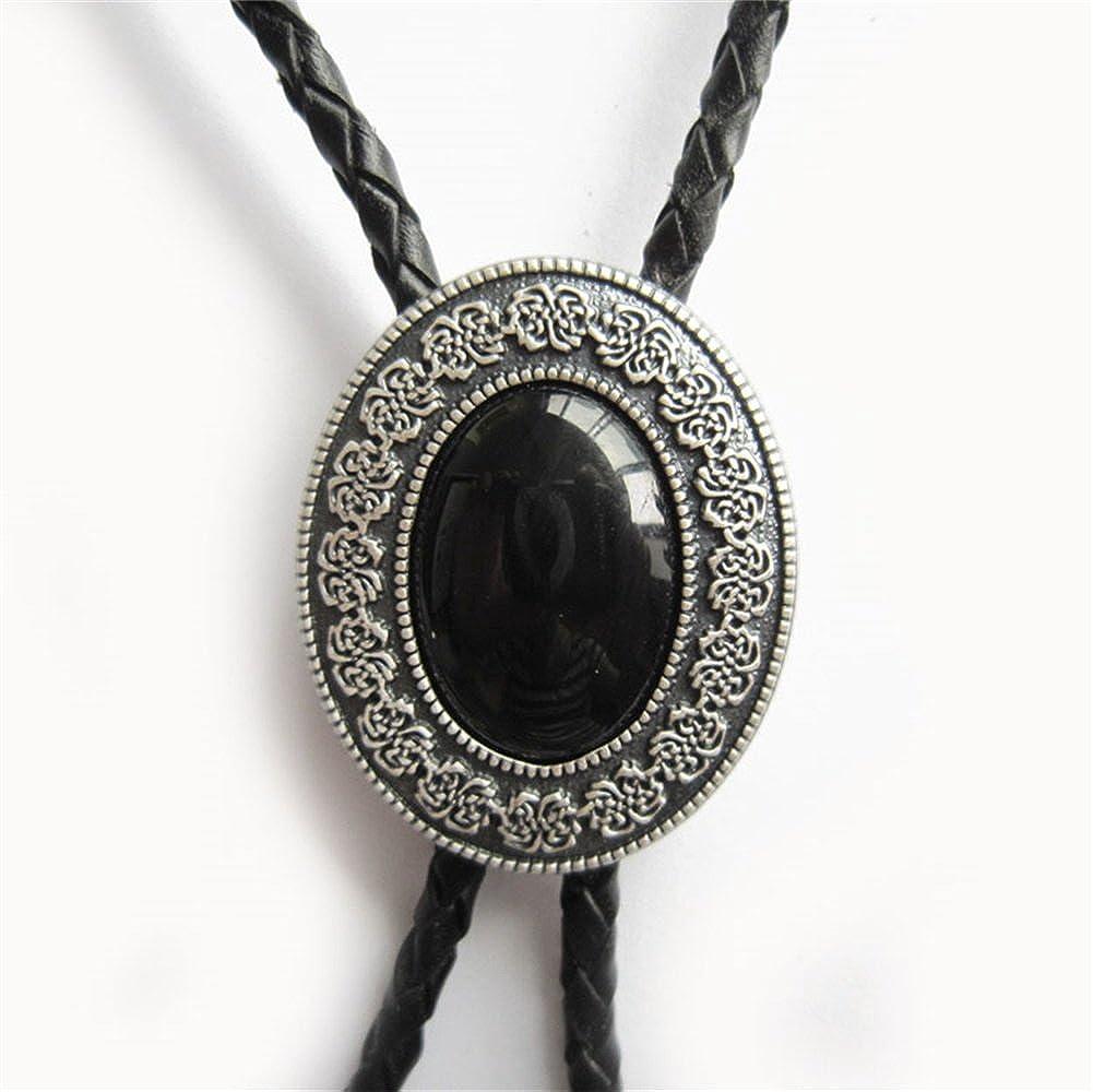 Original Silver Plated Black Agate Stone Wedding Bolo Tie also Stock in US