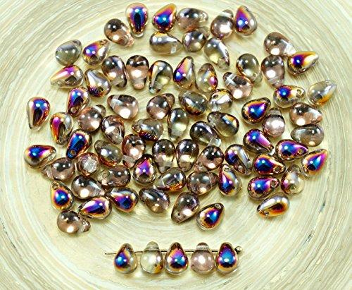 40pcs Crystal Iris Purple Half Czech Glass Small Teardrop Beads 4mm x 6mm ()
