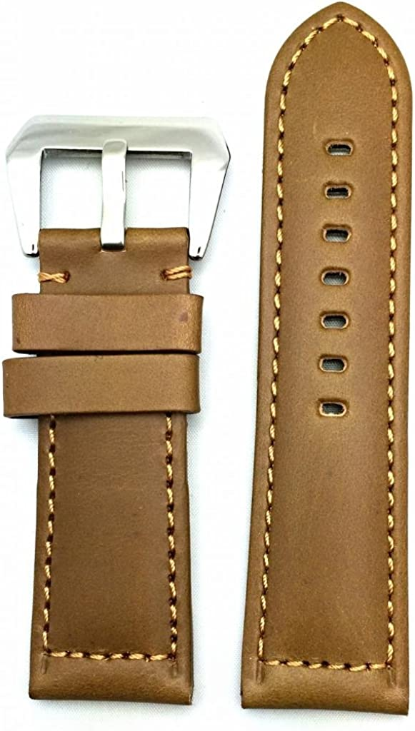 26mm Brown Leather Watch Band Compatible with Panerai Watch   Thick, Solid, Smooth, Padded Replacement Wrist Strap Bracelet that brings New Life to Any Watch (Mens Standard Length)