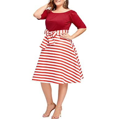 a01801e2652 Zwingtonseas Womens Vintage Off Shoulder Half Sleeve Round Neck Red Stripe  Casual Evening Party A Line