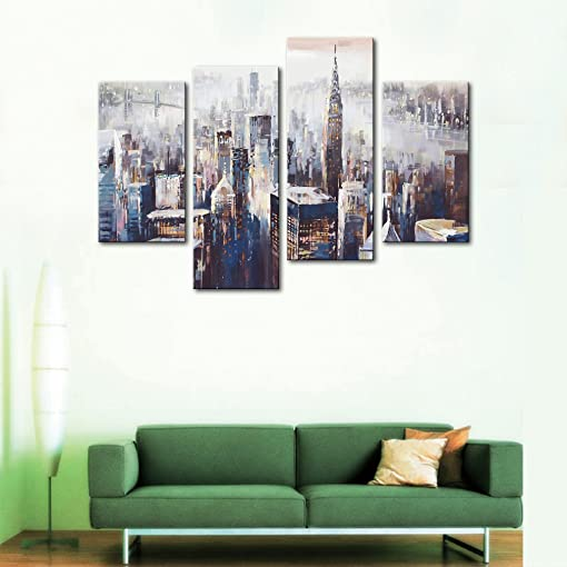4 Panels Abstract Canvas Painting Colorful City Landscape Picture Printed on Canvas Giclee Artwork Stretched and Framed Wall Art For Home Decor Ready to Hang