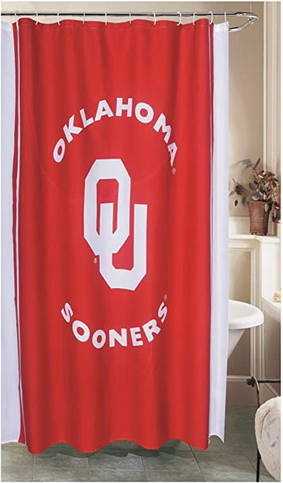 Oklahoma Sooners Shower Curtain College Covers American School University Personality Multicolored Creative Texture Washable Bathroom Curtain Sets with Hooks Decoration 70x70 Inches