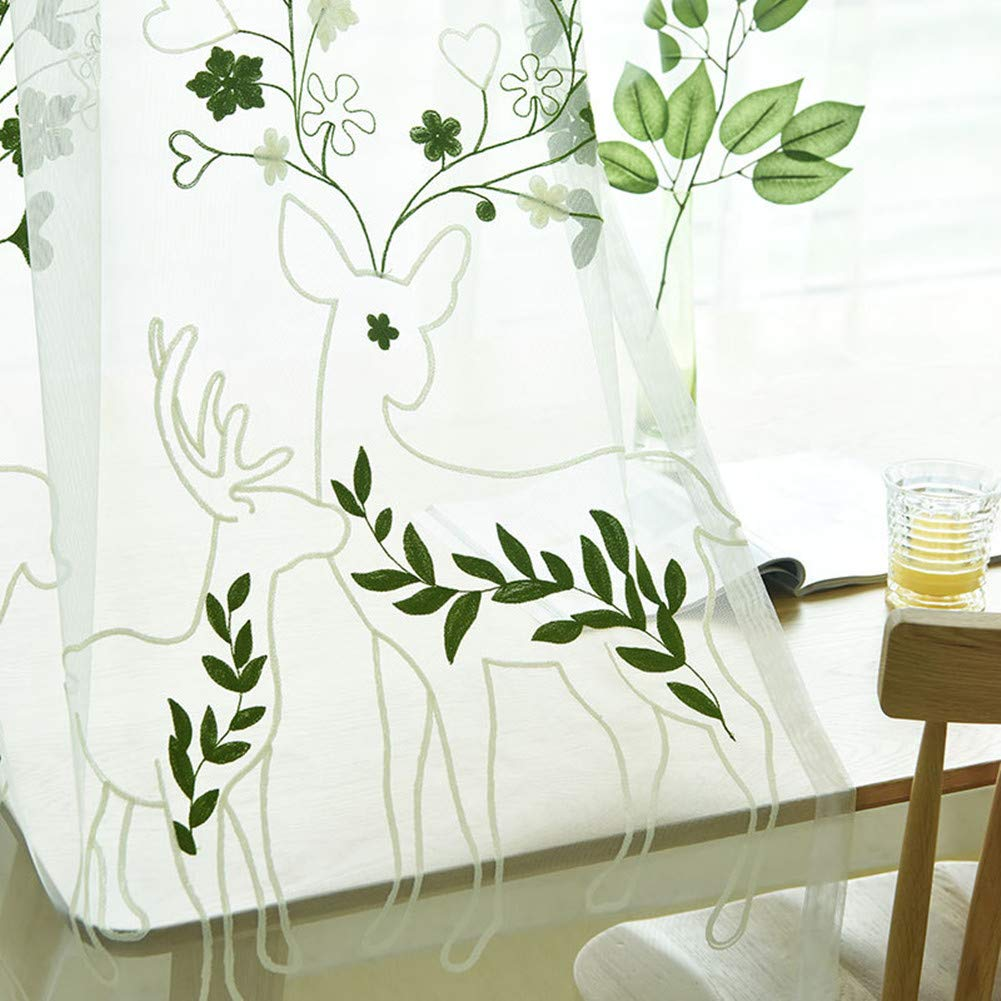 AiFish Sheer Curtains Draperies Kids Room Lace Embroidered Cartoon Sheep Leaf Window Treatment Voile Rod Pocket Country Style Tulle Living Room 63 inches Long 1 Panel W39 x L63 inch