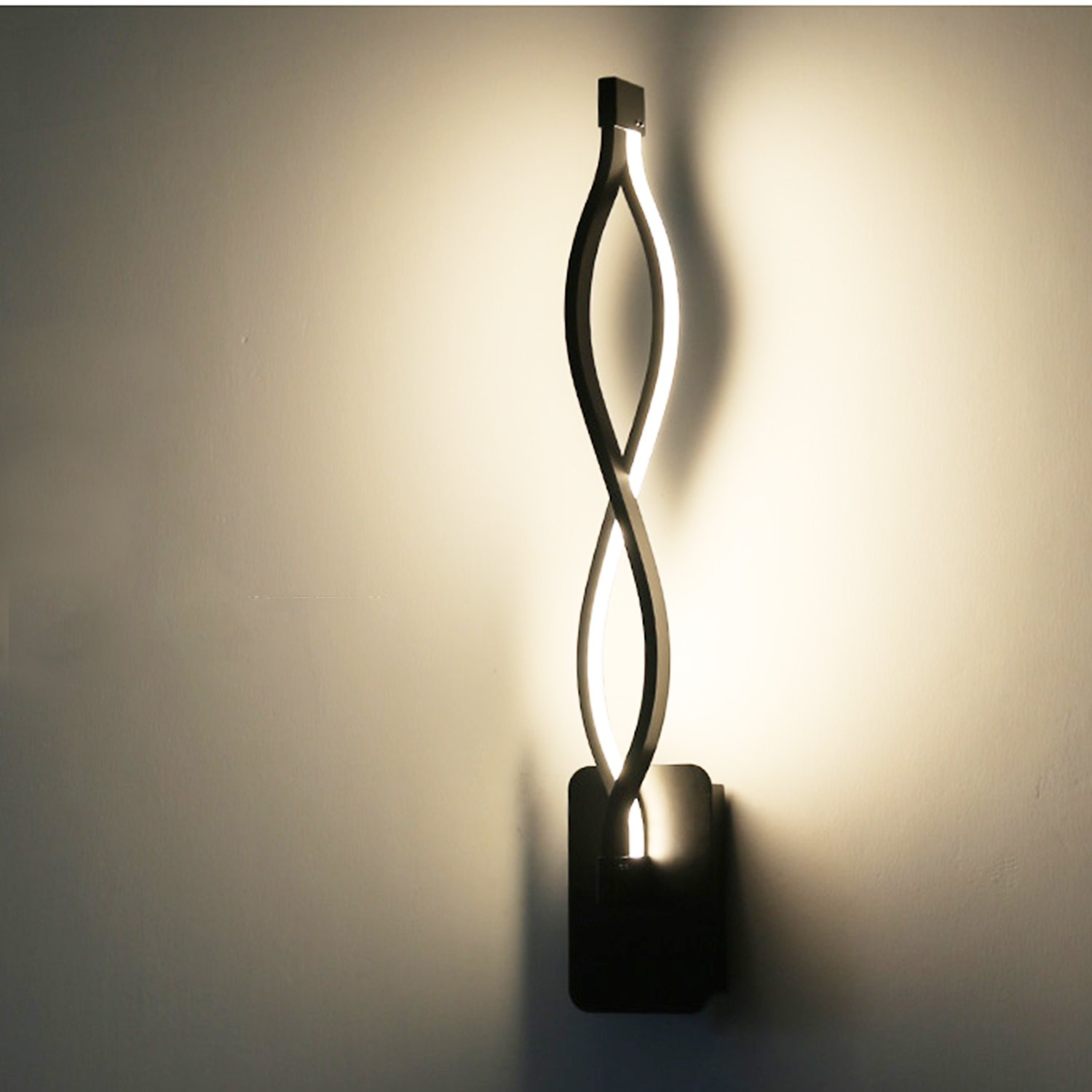 LightInTheBox Modern/Contemporary LED Wall Lamps Sconces Aluminum Wall Light Ambient Light Wall Lighting Fixture Bulb Included (Black, Warm White)