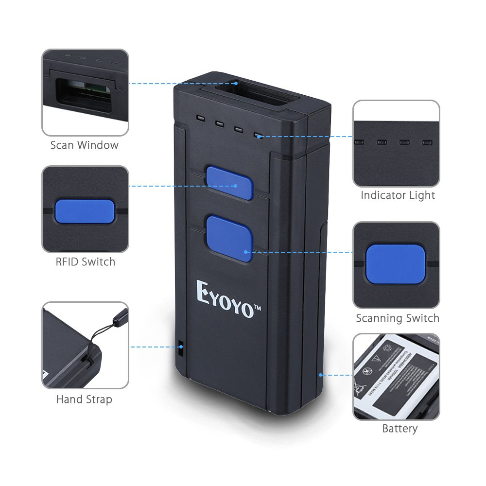 Eyoyo Mini 1D Wireless Barcode Scanner,Compatible with Bluetooth Function & 2.4GHz Wireless & Wired Connection, Portable Barcode Reader Work With Windows, Mac,Android, iOS Phones, Tablets or Computers by Eyoyo (Image #9)