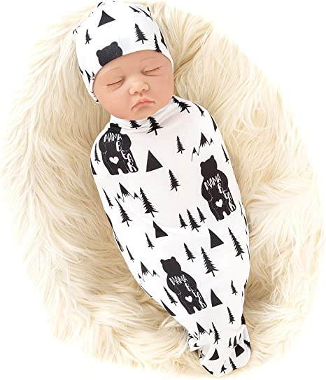 Newborn Boy Swaddle Set Photo prop Swaddle Blanket and Hat Newborn Knit Swaddle Set Gray Stripe Swaddle Set Baby Shower Gift