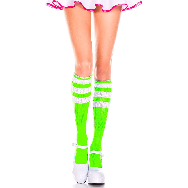 77385de3da8 Amazon.com  Music Legs 5726-NEON Green-WHI Acrylic Knee High Socks with  Striped Top44  Neon Green   White  Clothing