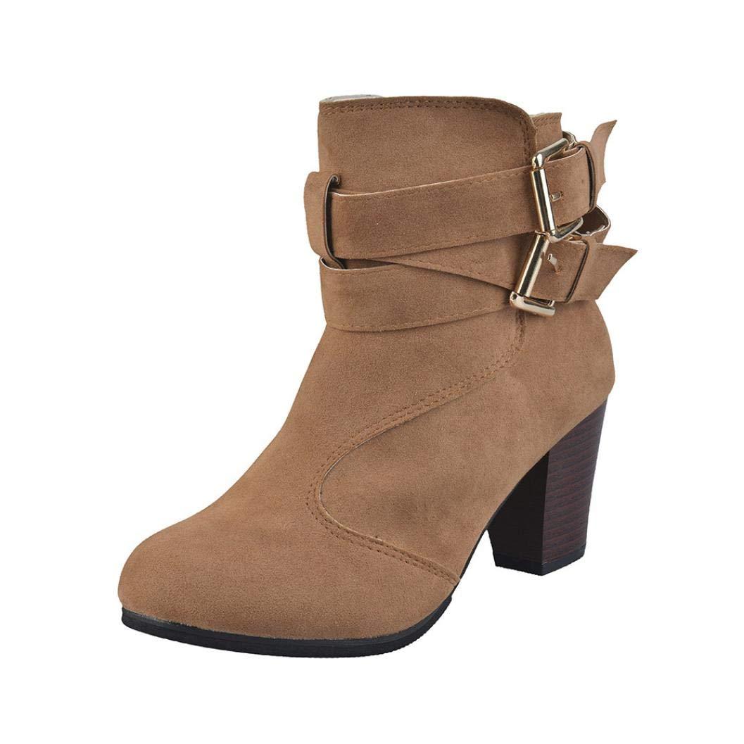 Creazrise Women's Crisscross Buckle Bootie Side Zip High Stacked Block Heel Ankle Booties (Beige,28)