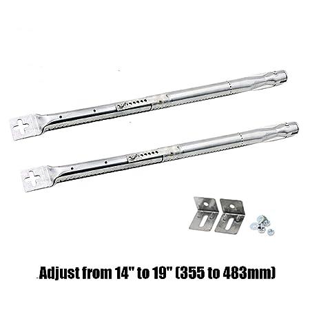 PayandPack 42204 - (lote de 2) Universal longitud ajustable de 35,5 cm a 48 cm, quemador de tubo de acero inoxidable de repuesto para la mayoría de ...