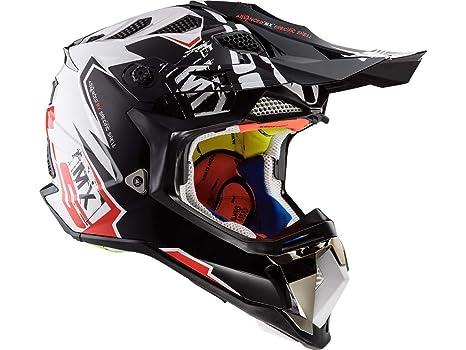LS2 MX470 Subverter Voodoo Motocross Motorrad Helm 59-60cm Schwarz Wei/ß Rot L