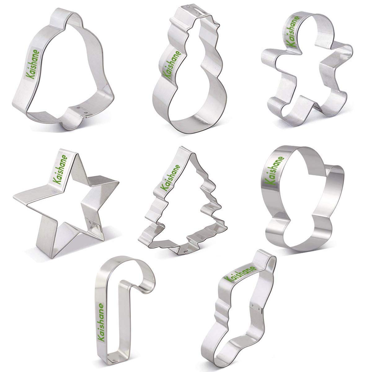 Christmas Cookie Cutters for Kids Set of 8 - Star Tree Angel Bell Stocking & More Shapes by KAISHANE