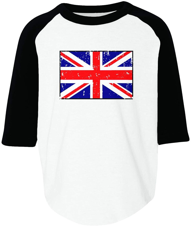 Amdesco Great Britain Flag United Kingdom UK British Toddler Raglan Shirt