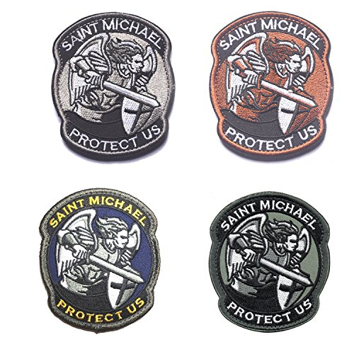 Protect Us Compatible Saint Michael Embroidered Patches Tactical Morale Replacement for St Michael Applique (Morale St Patches Michael)