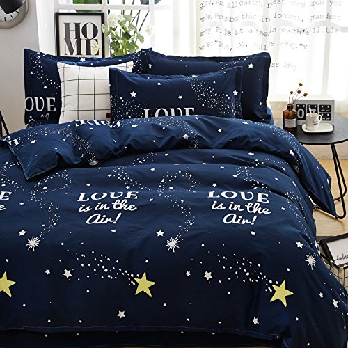 "Cheap KFZ Children Bedding Duvet Cover Space Moon Star Meteor shower Universe Design Flat Bed Sheet Pillowcases No Comforter HDD Twin Full Queen King 4pcs/set Size (Meteor Star, Blue, King, 86""x95"")"