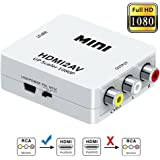 AlexVyan - High Resolution - HDMI to RCA,HDMI to AV, 1080P HDMI to AV 3RCA CVBs Composite Video Audio Converter Adapter Supporting PAL/NTSC with USB Charge Cable - Compatible with Google Chrome / AnyCast / Amazon Fire Stick